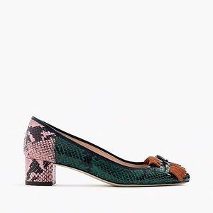 J.Crew snakeskin print block heels w/fringe detail